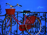 Old Red Bicycle on the Shores of Lake Como at Dusk Photographic Print by Rocco Fasano
