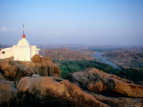 Hampi Temple Overlooking River and Rocky Plains Photographic Print by Sara-jane Cleland