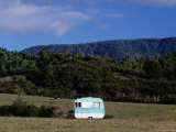 Caravan and a Cow in Field, Near Waima Photographic Print by Holger Leue
