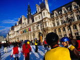 People Ice-Skating at Place De L'Hotel De Ville Photographic Print by Jean-Bernard Carillet