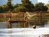 Fishermen Casting Net on River Photographic Print by Nicholas Reuss