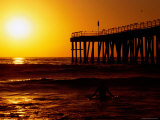 Sunset at Beach, Hermosa Beach, with Jetty in Background Photographic Print by Christina Lease