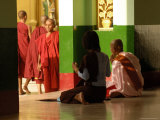 Nun and Another Woman Praying in Temple at Shwedagon Paya Photographic Print by Michael Gebicki