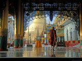 Monk at Shwedagon Paya Photographic Print by Michael Gebicki