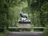 Lion Statue in Tiergarten Photographic Print by David Borland