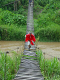 Tourists Crossing Old Hanging Bridge on Trek Near Dalat Photographic Print by David Greedy