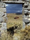 1880&#39;s Deserted Home Through Stone Warehouse Door Frame, Bodie State Historic Park Photographic Print by Emily Riddell