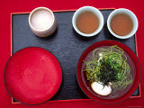 Overhead of Traditional Japanese Noodles and Oolong Tea Photographic Print by Karl Blackwell