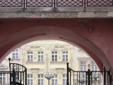 Renaissance Houses on North Side of Velke Namesti Square Seen Through Pink Archway Photographic Print by David Borland