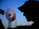 Jolly Swagman Statue Silhouette and Windmill at Waltzing Matilda Centre, Photographic Print