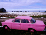 Pink Mercedes Car in Snow-Capped Area, Somme Region Photographic Print by Olivier Cirendini