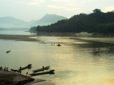 Mekong River with Steps Leading Down from Wat Pha Baht Tai Photographic Print by Nicholas Reuss