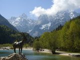 Jasna Lake in Julian Alps with Statue of Mythical Chamois Zlatorog Photographic Print by John Elk III