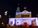 Church at the Top of Cerro De Monserrate, Decorated with Christmas Lights Photographic Print by Paul Kennedy