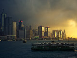 Ferry and Hong Kong Island Waterfront with Skyscrapers Photographic Print by Merten Snijders