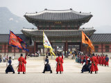 Ceremonial Guards and Tourists Outside the Entrance to Gyeongbokgung Palace Photographic Print by Neil Setchfield