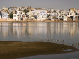 Pushkar Town and the Ghats on River Photographic Print by John Sones