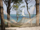 Beach Hammock with Catamaran in Background, Private Island of Le Tuessrok Resort Photographic Print by Holger Leue