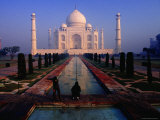 Groundsman Cleaning Watercourse at Taj Mahal Photographic Print by Richard I'Anson