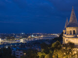 Fisherman's Bastion at Night with City Lights Below Photographic Print by Holger Leue