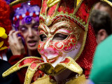 Person in Venetian Mask, New Orleans Mardi Gras Photographic Print by Ray Laskowitz