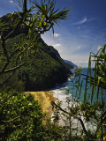 Looking Through Foliage to the Na Pali Coastline Photographic Print by Merten Snijders