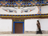 Pilgrim Walking on Top Floor of the Gyantse Kumbum Photographic Print by Tim Hughes