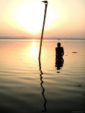 Man Praying in the Holy Ganges, Early Morning Photographic Print by Gavin Quirke