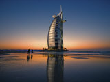 Burj Al Arab Hotel Reflected on Beach at Sunset Photographic Print by Merten Snijders