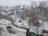 Winter Snows Begin to Fall on Village, Transylvania Photographic Print by Gavin Quirke