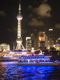 Night Time Cruise Ship on Huang Pu River Photographic Print by Greg Elms