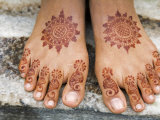 Henna Painting on Feet of Young Girl Photographic Print by Anders Blomqvist