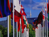 International Flag Display at Commonwealth Place and Telstra Tower on Black Mountain Photographic Print by Richard I'Anson