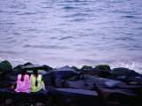Young Women on Rocks at City Beach on Bay of Bengal Photographic Print by Richard I'Anson