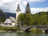 St John the Baptist Church and Lake Bohinj Photographic Print by John Elk III