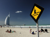 Jumeirah Beach with Burj Al Arab in Background Photographic Print by Terry Carter