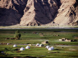 Yurts Below Tashkurgan Fort Photographic Print by Lindsay Brown