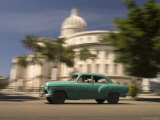 Classic American Car Passing Capitolio, Old Havana Photographic Print by Guylain Doyle
