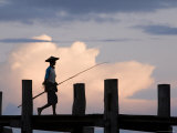 Fisherman Walking Along U Bein's Bridge Photographic Print by Tim Hughes