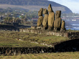 Moai Statues of Ahu Vai Uri Photographic Print by Paul Kennedy