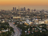 Los Angeles Downtown as Seen from Hollywood Bowl Overlook, at Dusk Photographic Print by Witold Skrypczak