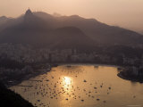 Sun Set over Guanabara Bay from the Summit of Pao De Acucar Photographic Print by Tim Hughes