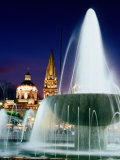 Water Fountain on Plaza De La Liberacion with 17th Century Cathedral in Distance Photographic Print by Ryan Fox