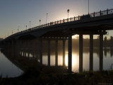 Bridge over Ural River at Sunrise, Separating Europe and Asia, Photographic Print