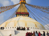 People Sitting on Steps of Bodhnath Buddhist Stupa, Losar Tibetan and Sherpa New Year Festival Photographic Print by Jane Sweeney