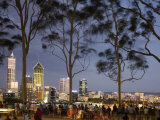 People in Kings Park Watching Fireworks on Australia Day with Perth Skyline in Background Photographic Print by Orien Harvey
