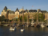 Tall Ships Anchored in Harbour, Empress Hotel in Background Photographic Print by Emily Riddell