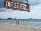 Beach Massage Sign Along Ao Khlong Prao Photographic Print by David Greedy