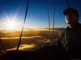 Facial Detail of Hot-Air Balloon Pilot as Sun Rises During Take Off Photographic Print by Tim Barker