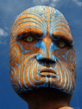 Carved Head of Pouwhenua Photographic Print by Jenny & Tony Enderby